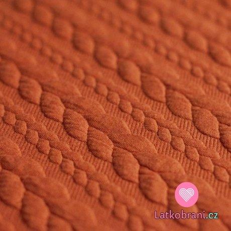Pletenina copánky teplá sytá oranžová