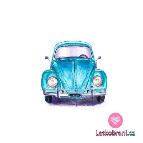 Panel teplákovina modré auto, brouček