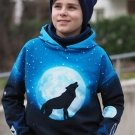 Panel Wolf Moon - vlk za úplňku na modré
