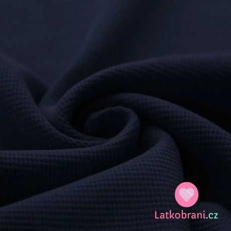Bavlna s vaflovou vazbou jednobarevná námořnicky modrá