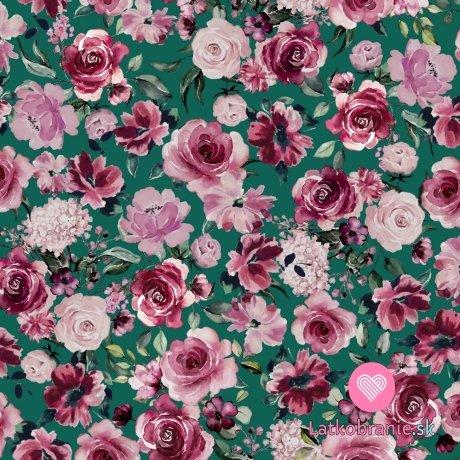 Teplákovina počesaná potisk rozkvetlé růžové květy na zelené, BIO