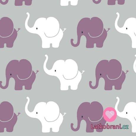 Úplet potisk sloní průvod na šedé