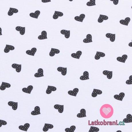 Bavlněný úplet černá puntíkatá srdíčka na bílé