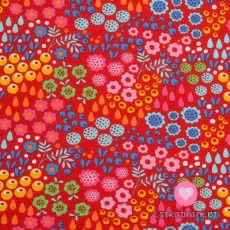 Úplet potisk abstraktní rozkvetlá zahrada na červené