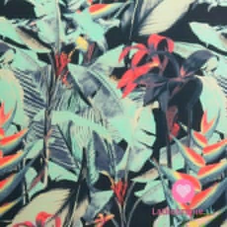 Plavkovina (lycra) modro růžové listy na tmavě modré