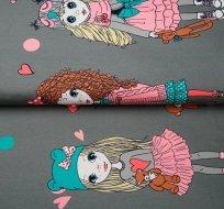 Úplet bordura zimní holčička na šedé