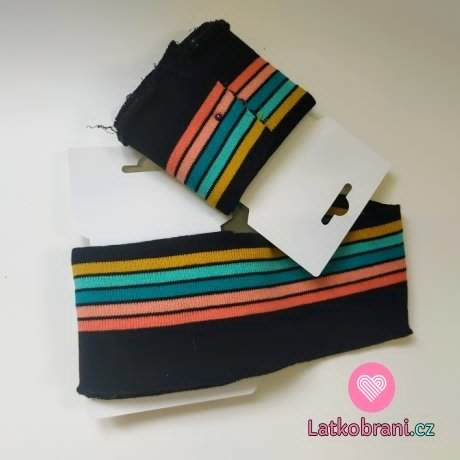 Náplet kusový černý s barevnými proužky 135 cm