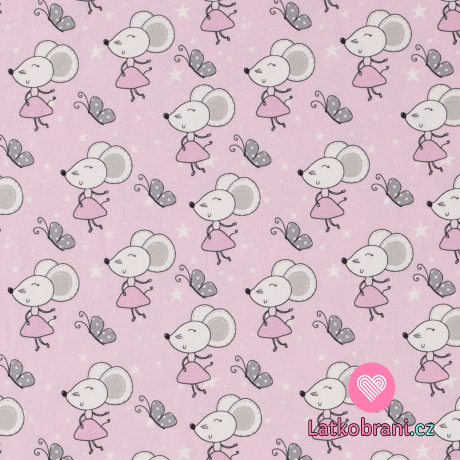Úplet potisk myšky v sukýnkách na růžové