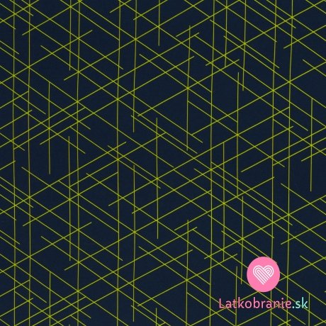 Teplákovina potisk nepravidelné zelené čáry na tmavě modré