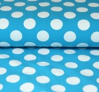 Úplet s velkými puntíky na modré 2.5cm