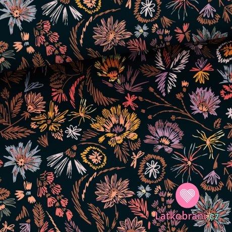 Teplákovina potisk malovaná kvítka na černé