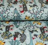 Úplet kreslená liška mezi stromy v zimě na modroučké