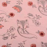 Úplet potisk lišky a ježečci na růžové