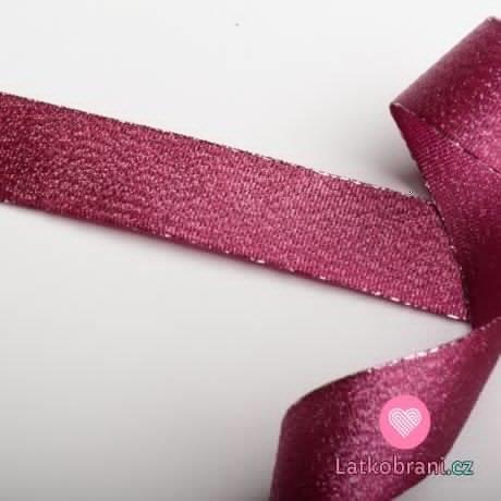 Stuha lurexová vínovo - růžová 25 mm