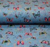 Teplákovina poletující motýli na jeansové