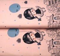 Bordura holčička s balonkem na růžové
