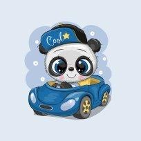 Panel cool panda v modrém autíčku