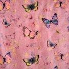 Teplákovina potisk poletující motýlci na starorůžové