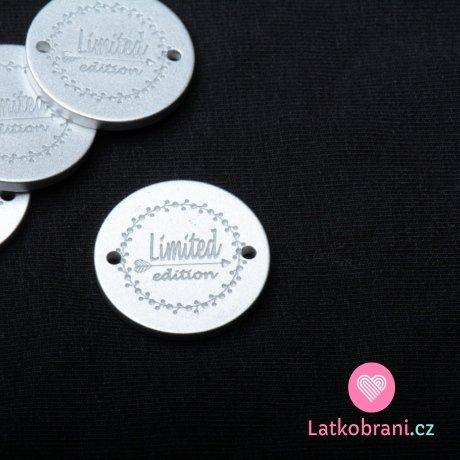 """Štítek na oblečení polyesterový stříbrný """"Limited edition"""""""