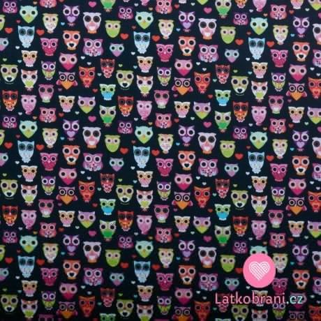 Bavlněné plátno drobné sovičky na černé