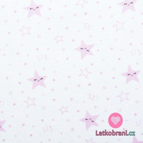 Bavlněný úplet růžové hvězdičky na bílé