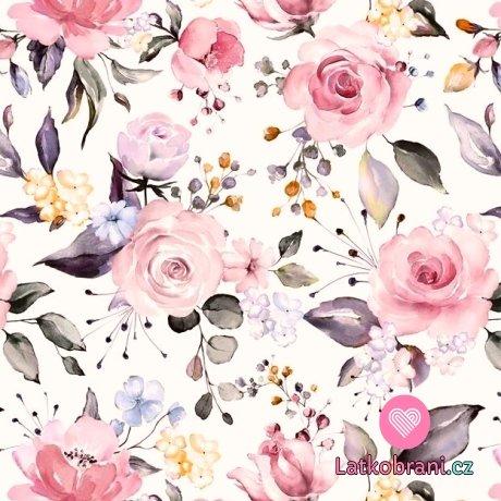 Úplet potisk rozkvetlé růže na bílé