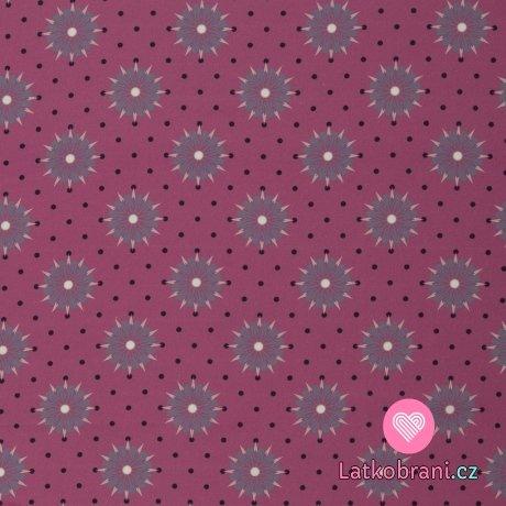Balvlněné plátno kytičky a puntíčky na růžové