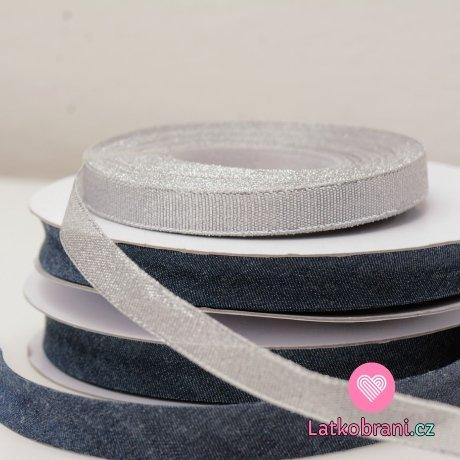 Šikmý proužek bavlněný / lemovací pruženka jeans