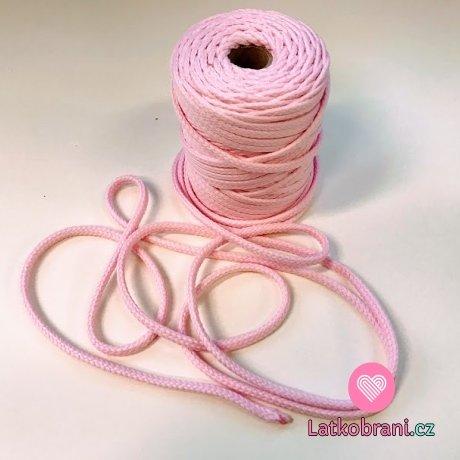 Šňůra kulatá oděvní PES 7 mm ledově růžová