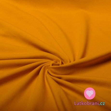 Jednobarevný úplet hořčicová 220 g, šíře 180
