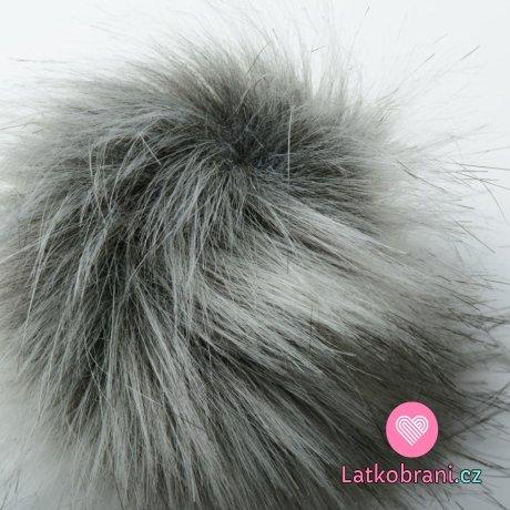 Bambule na čepici šedá, bílé konce - dlouhý chlup