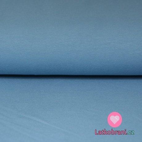 Jednobarevný úplet jeansově modrá 215g
