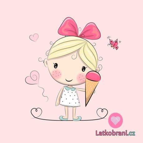 Panel holčička se zmrzlinou na růžové
