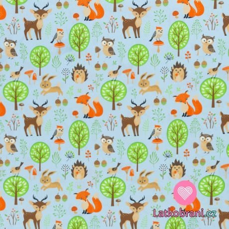 Bavlněné plátno zvířátka v lese na modré