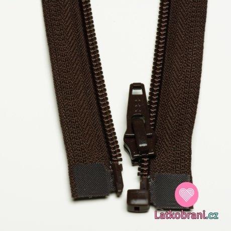 Zip spirálový dělitelný tmavě hnědý 40cm
