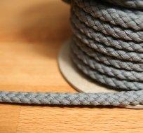 Šňůra kulatá oděvní BAVLNA 9 mm šedá