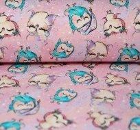 Teplákovina spící sovičky v čepici na růžové