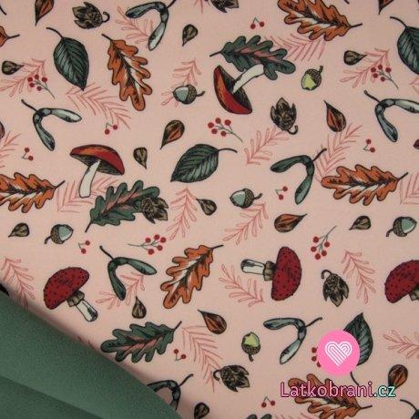 Softshell houbičky mezi podzimním listím na růžové