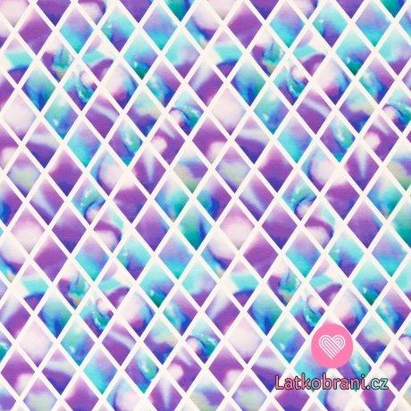 Úplet potisk diamanty v modro - fialové