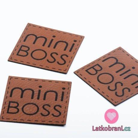 """Štítek na oblečení """"Mini boss"""", koženkový"""