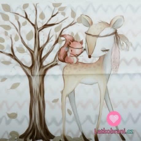Bavlněný panel lesní zvířátka srna a veverka u stromu 60x40 cm