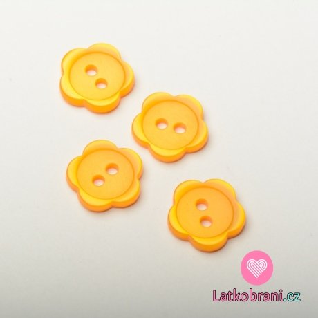 Knoflík dětský, kytička oranžová - střední