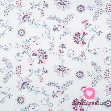 Bavlněný úplet květinové ornamenty na bílé