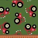 Úplet potisk červené traktory na zelené