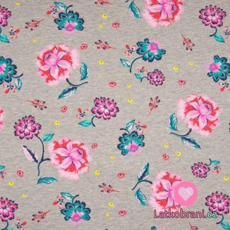 Teplákovina růžové květy na šedé melé
