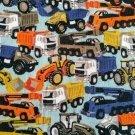 Úplet potisk jeřáby, nakladače a nákladní auta na modré