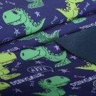 Softshell zimní s digitálním potiskem zářiví zelení dinosauři na tmavě modré