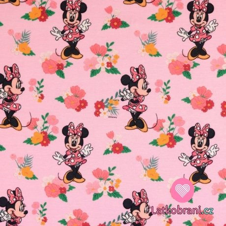 Úplet potisk Minnie a barevné kytičky na růžové