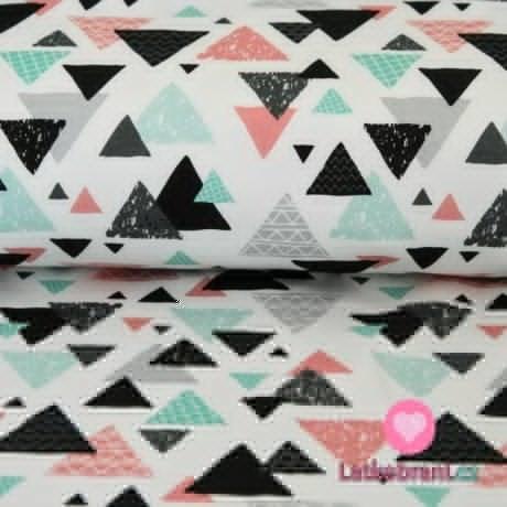 Teplákovina smaragdové, růžové a černé trojúhelníčky