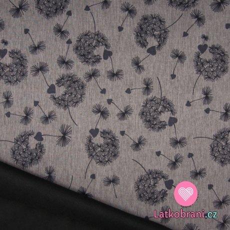 Softshell srdíčkové chmíří na šedém melé s fleecem